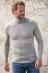 Maglia collo alto uomo in lana biologica e seta GRIGIO