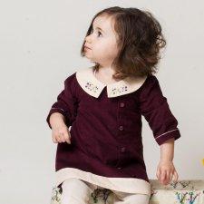 Vestito con colletto per bambina in velluto di cotone biologico