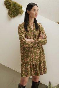 Abito OKRA corto con balza in viscosa, moda etica e sostenibile