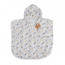 Accappatoio Poncho Blue Wildflowers in mussola di Bamboo