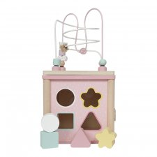 Activity cube in wood Adventure Pink