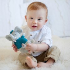 Alvin the elephant rattle in organic cotton and natural rubber