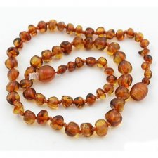 Amber necklace beads Cognac