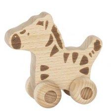 Animale su ruote in legno naturale - Zebra
