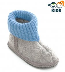 Ankle boot slippers for children in boiled wool GRAY BLUE