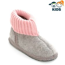 Ankle boot slippers for children in GRAY PINK boiled wool