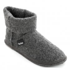 Ankle boot slippers in pure ANTHRACITE boiled wool