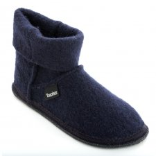 Ankle boot slippers in pure BLUE boiled wool