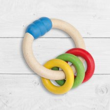 Antibacterial self-sanitizing multicolored ring rattle
