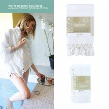 Asciugamano Fouta DHOTI Bianco in cotone biologico