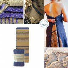 Asciugamano Hammam Foutas Sabbia e Blu Imperiale
