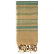 Asciugamano Hammam Foutas Sabbia e Verde Acqua