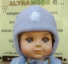 Baby azure bonnett in organic wool