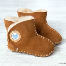 Baby boot in sheepskin with soft sole Brown