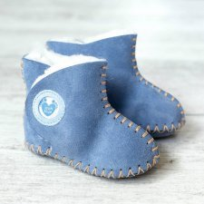 Baby boot in sheepskin with soft sole Blue