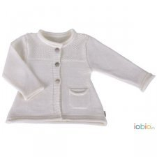 Baby cardigan white Popolini in organic wool