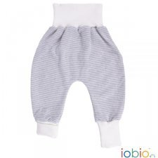 Baby crawlers grey striped in organic cotton interlock