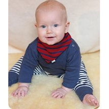 Baby crawlers navy striped in organic cotton interlock