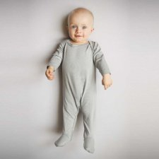 Baby romper in bamboo grey