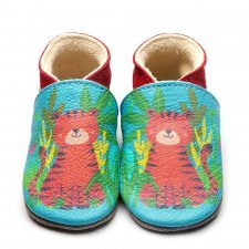 Baby shoe with soft sole in leather Tiger Inch Blue