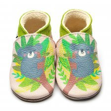 Baby shoe with soft sole in leather Koala Inch Blue