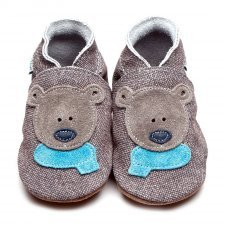 Baby shoe with soft sole in leather Bear Inch Blue