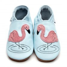 Baby shoe with soft sole in leather Flamingo Inch Blue