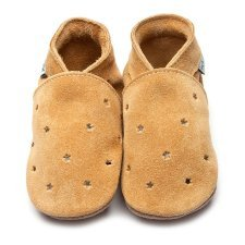 Baby shoe with soft sole in leather Milky Way Inch Blue