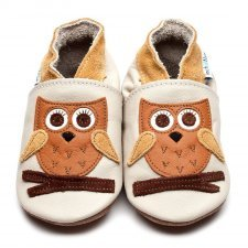 Baby shoe with soft sole in leather Owl Inch Blue