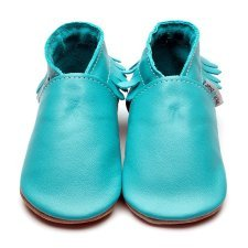 Baby shoe with soft sole in leather Turquoise Inch Blue