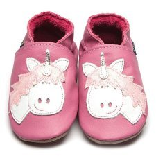 Baby shoe with soft sole in leather Unicorn Inch Blue