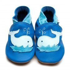 Baby shoe with soft sole in leather Whale Inch Blue