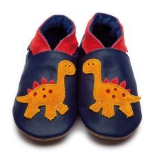 Baby shoe with soft sole in leather Dino Inch Blue