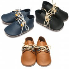 Baby shoes with soft sole in natural rubber Derby Inch Blue