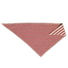 Baby triangle hankie bib bandana in organic cotton Red/Beige stripes