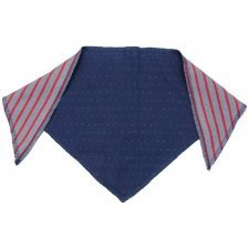 Baby triangle hankie bib bandana in organic cotton Navy dots/stripes