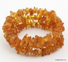 Baltic amber memory wire bracelet for adult