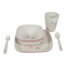 Bamboo children's tableware set Flowers