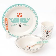 Bamboo dinner set Whale