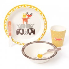 Bamboo dinner set Wood animals