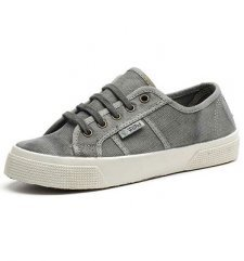 Basket shoes gray in organic cotton canvas