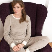 Beige woman pyjamas in organic cotton terry