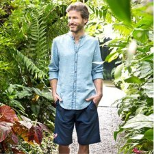 Bermuda trousers in linen and organic cotton