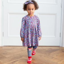 Berry ditsy dress in organic cotton