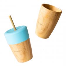 Bicchiere con cannuccia in legno di Bamboo e Silicone