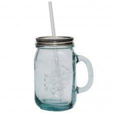 Bicchiere Vintage con coperchio e cannuccia in vetro riciclato