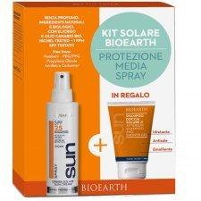 Bioearth Sun Kit Crema solare spray SPF25 e shampoo doccia omaggio