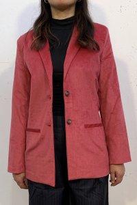 Blazer AMANITA in velluto rosso chiaro, moda etica e sostenibile