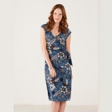 Blu V-neck dress in organic cotton