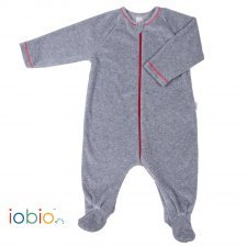 Grey babysuit in organic cotton chenille Popolini